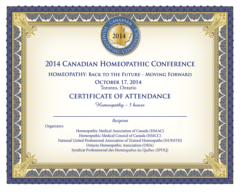 Certificate Canadian Homeopath Conference Design Canada