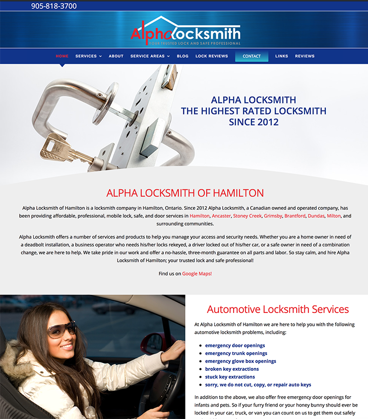 Alpha Locksmith Website Hamilton